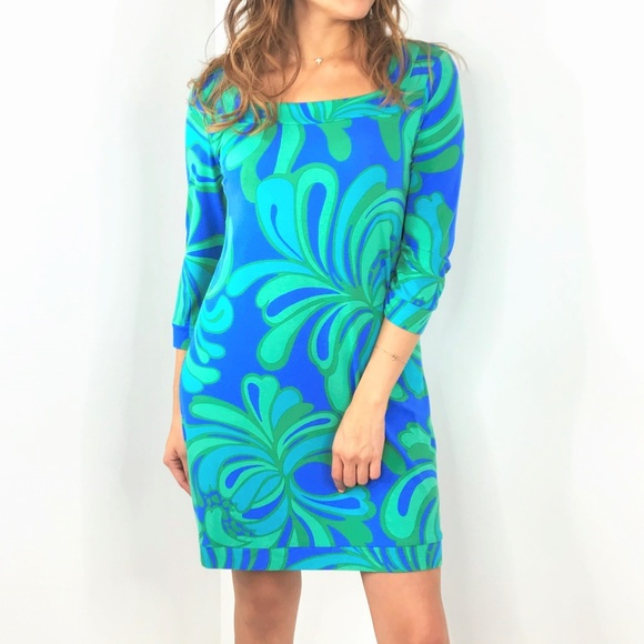 Lilly Pulitzer Dresses & Skirts - LILLY PULITZER Blue Green 3/4 Sleeve Dress